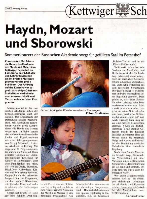 """Artikel """"Haydn, Mozart und Sborowski"""". Kettwiger Kurier."""